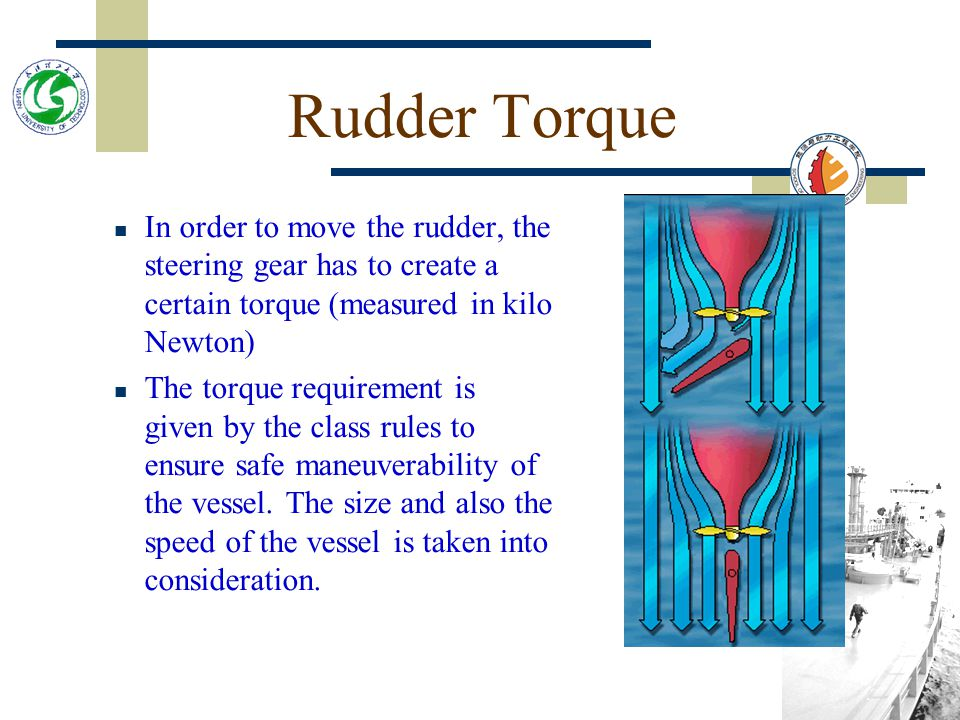 Rudder Torque In order to move the rudder, the steering gear has to create a certain torque (measured in kilo Newton) The torque requirement is given by the class rules to ensure safe maneuverability of the vessel.
