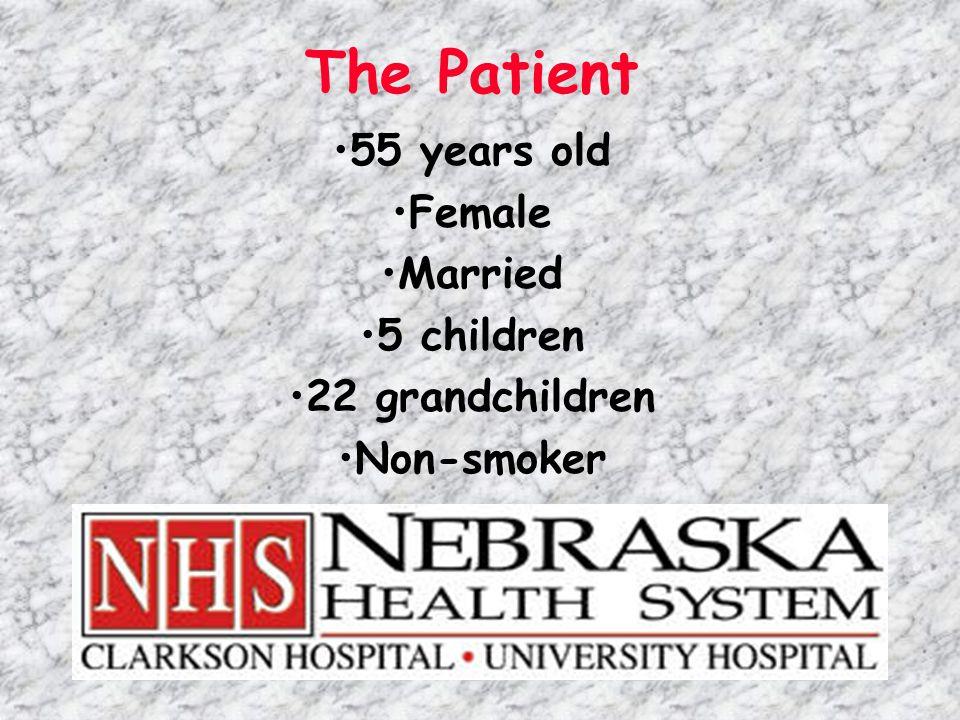 The Patient 55 years old Female Married 5 children 22 grandchildren Non-smoker