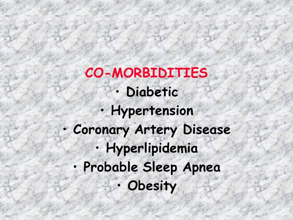 CO-MORBIDITIES Diabetic Hypertension Coronary Artery Disease Hyperlipidemia Probable Sleep Apnea Obesity