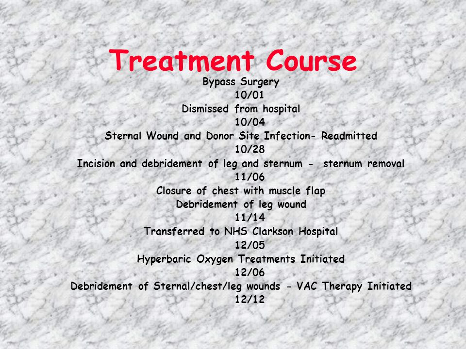 Treatment Course Debridement of sternal and leg wounds - abdominal wound 01/13 STSG to sternal and leg wounds with VAC therapy 1/20 Transferred from acute care to sub-acute rehab unit 02/05