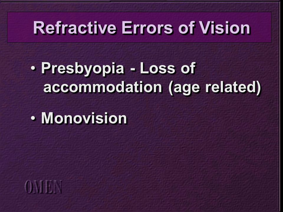 Presbyopia - Loss ofPresbyopia - Loss of accommodation (age related) accommodation (age related) MonovisionMonovision Presbyopia - Loss ofPresbyopia - Loss of accommodation (age related) accommodation (age related) MonovisionMonovision Refractive Errors of Vision