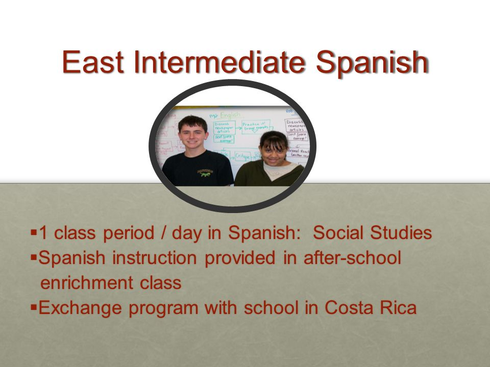 East Intermediate Spanish  1 class period / day in Spanish: Social Studies  Spanish instruction provided in after-school enrichment class enrichment