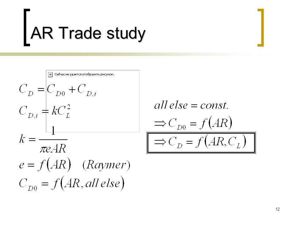 12 AR Trade study