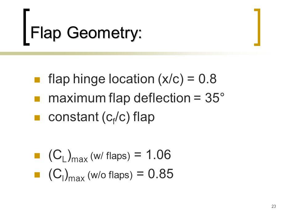 23 Flap Geometry: flap hinge location (x/c) = 0.8 maximum flap deflection = 35° constant (c f /c) flap (C L ) max (w/ flaps) = 1.06 (C l ) max (w/o flaps) = 0.85