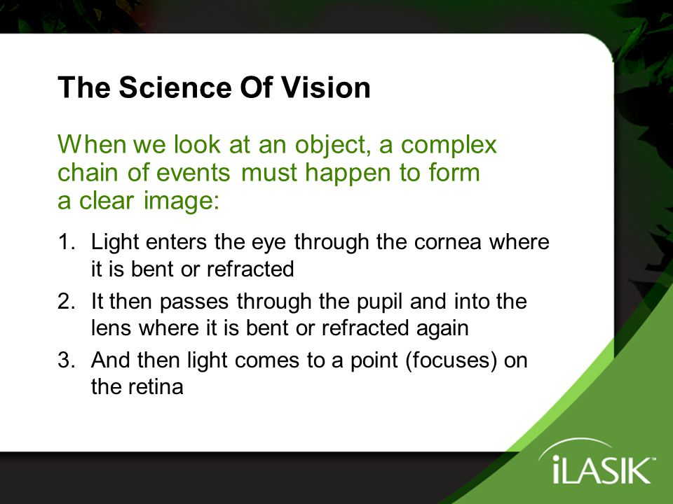 Overcoming Your Refractive Error Nearsightedness, farsightedness and astigmatism occur when there's a problem accurately refracting or bending incoming light The iLASIK ™ procedure corrects this problem by reshaping the cornea so that refracted light focuses more accurately on the retina