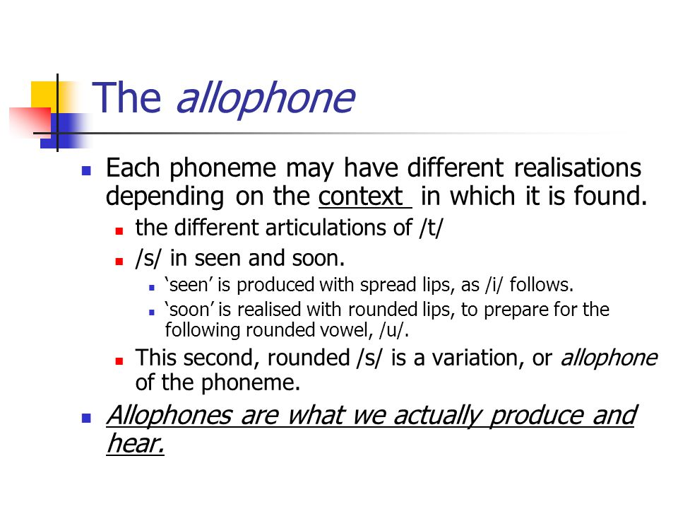 The allophone Each phoneme may have different realisations depending on the context in which it is found. the different articulations of /t/ /s/ in se