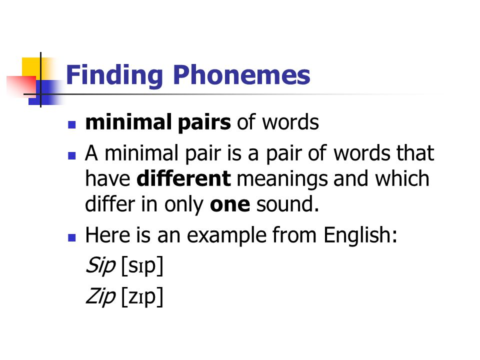 Finding Phonemes minimal pairs of words A minimal pair is a pair of words that have different meanings and which differ in only one sound. Here is an