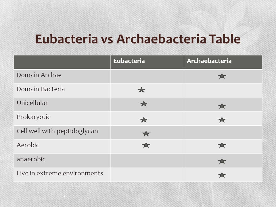 Eubacteria vs Archaebacteria Table EubacteriaArchaebacteria Domain Archae Domain Bacteria Unicellular Prokaryotic Cell well with peptidoglycan Aerobic anaerobic Live in extreme environments