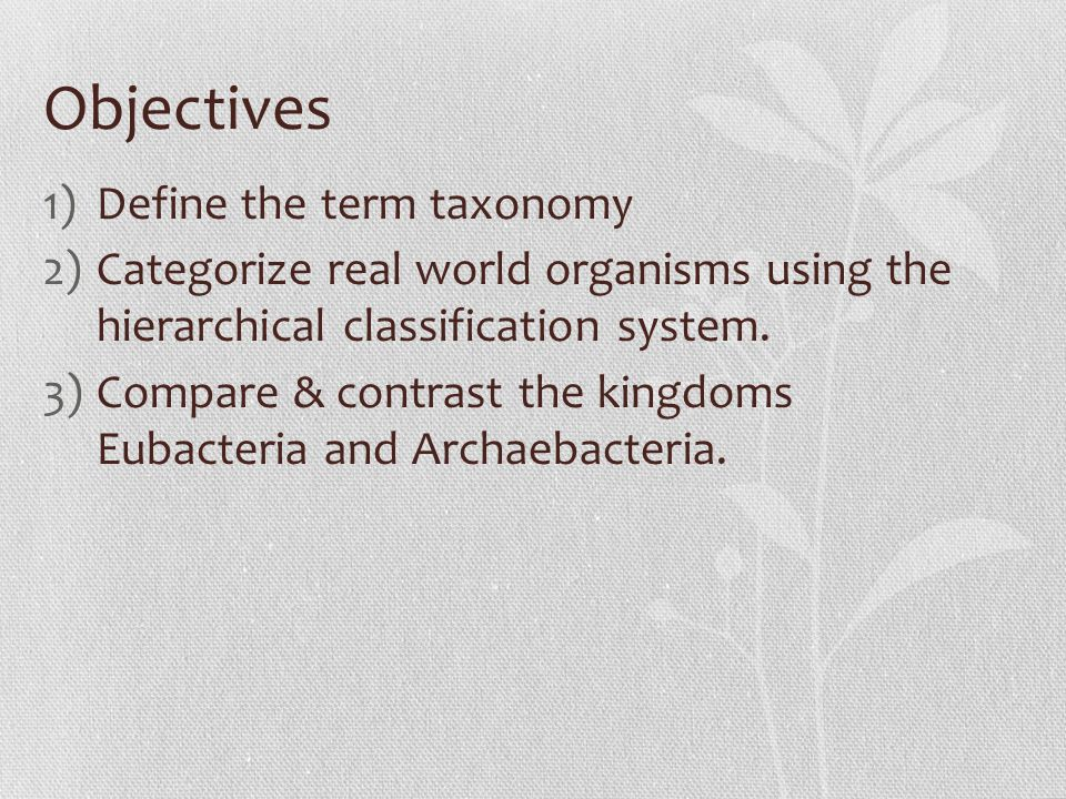 Objectives 1)Define the term taxonomy 2)Categorize real world organisms using the hierarchical classification system.