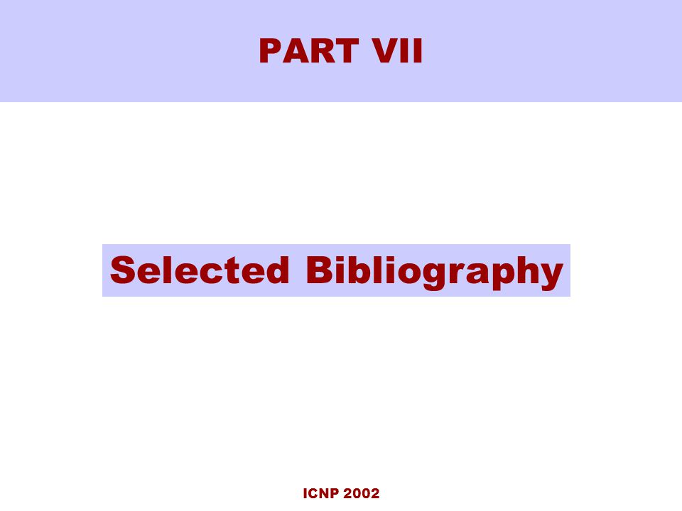 ICNP 2002 PART VII Selected Bibliography