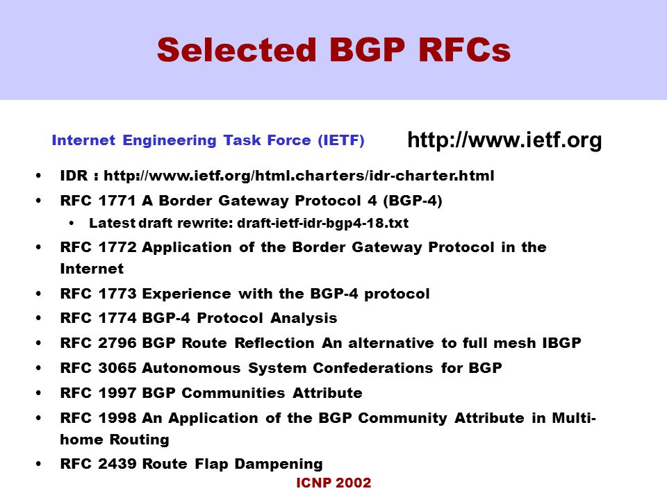 ICNP 2002 Selected BGP RFCs IDR : http://www.ietf.org/html.charters/idr-charter.html RFC 1771 A Border Gateway Protocol 4 (BGP-4) Latest draft rewrite: draft-ietf-idr-bgp4-18.txt RFC 1772 Application of the Border Gateway Protocol in the Internet RFC 1773 Experience with the BGP-4 protocol RFC 1774 BGP-4 Protocol Analysis RFC 2796 BGP Route Reflection An alternative to full mesh IBGP RFC 3065 Autonomous System Confederations for BGP RFC 1997 BGP Communities Attribute RFC 1998 An Application of the BGP Community Attribute in Multi- home Routing RFC 2439 Route Flap Dampening Internet Engineering Task Force (IETF) http://www.ietf.org