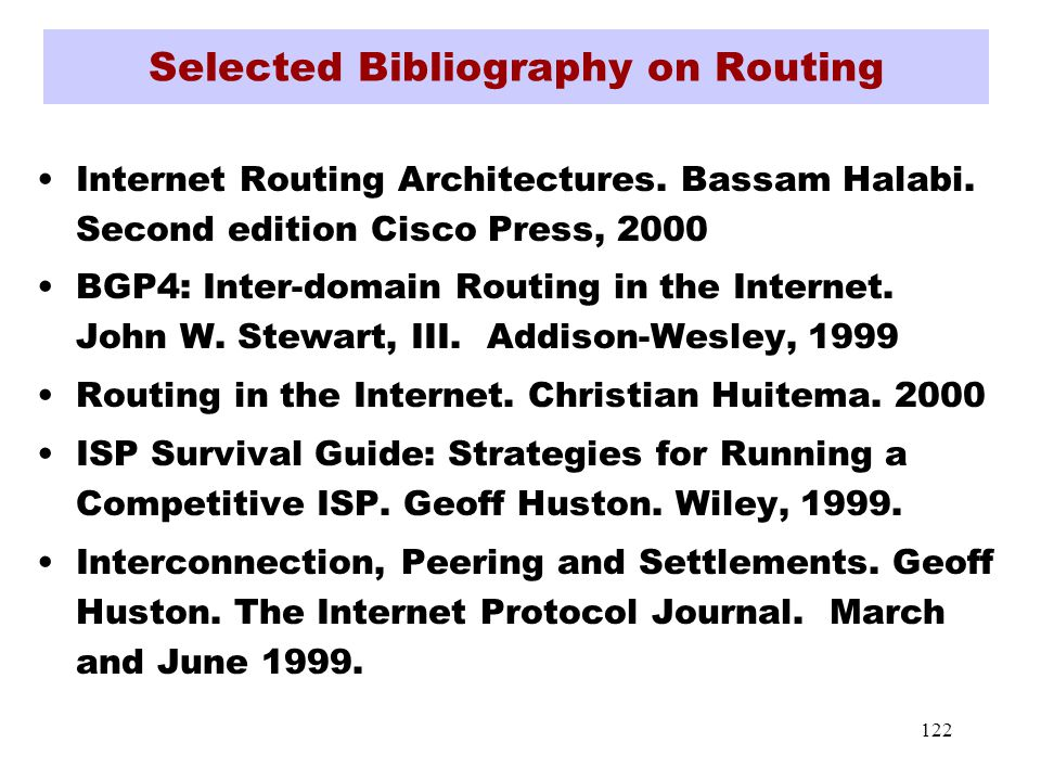122 Selected Bibliography on Routing Internet Routing Architectures.