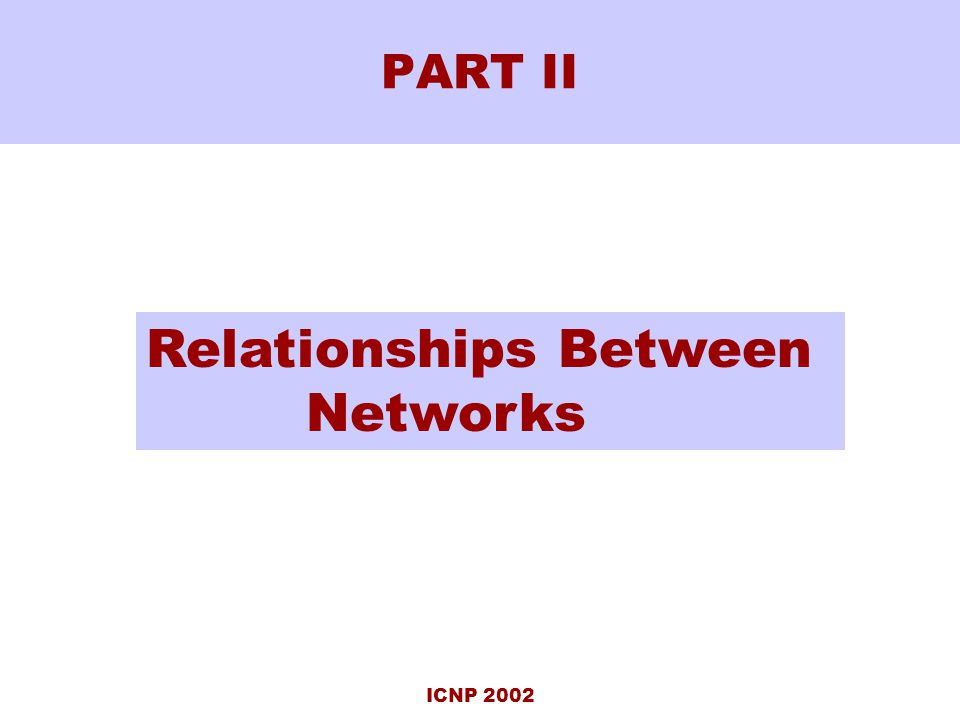 ICNP 2002 PART II Relationships Between Networks