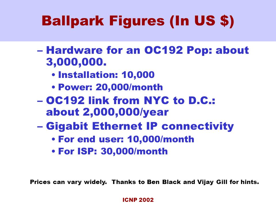 ICNP 2002 Ballpark Figures (In US $) –Hardware for an OC192 Pop: about 3,000,000.