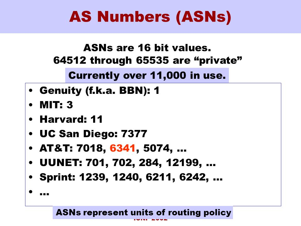 ICNP 2002 AS Numbers (ASNs) ASNs are 16 bit values.