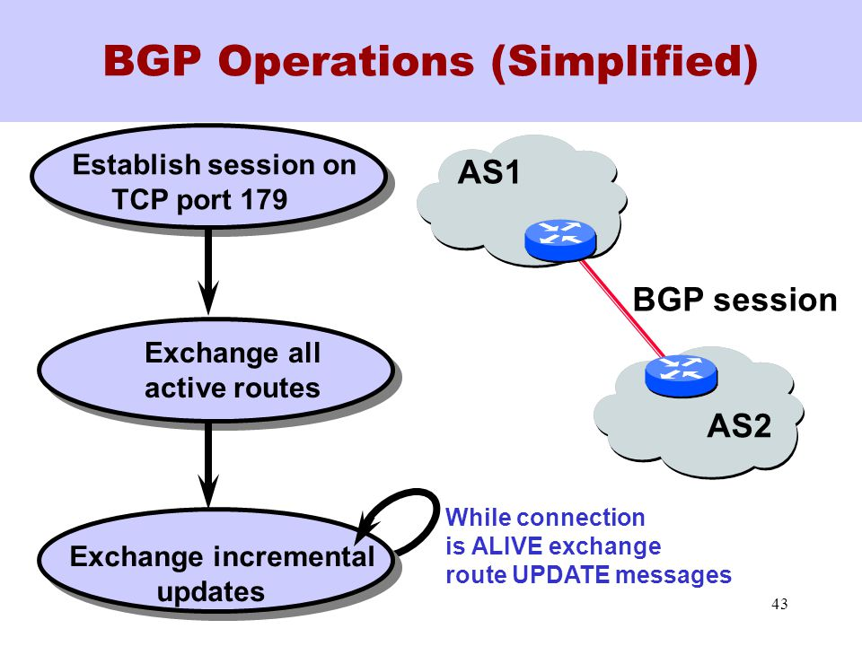 43 BGP Operations (Simplified) Establish session on TCP port 179 Exchange all active routes Exchange incremental updates AS1 AS2 While connection is ALIVE exchange route UPDATE messages BGP session