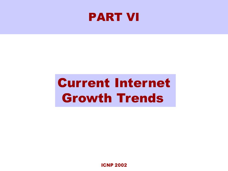 ICNP 2002 PART VI Current Internet Growth Trends