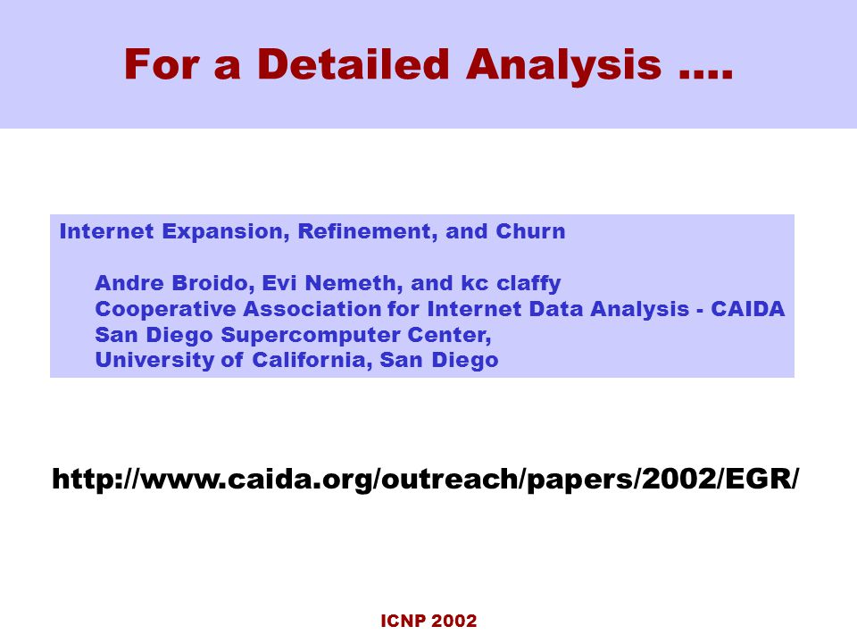 ICNP 2002 For a Detailed Analysis ….