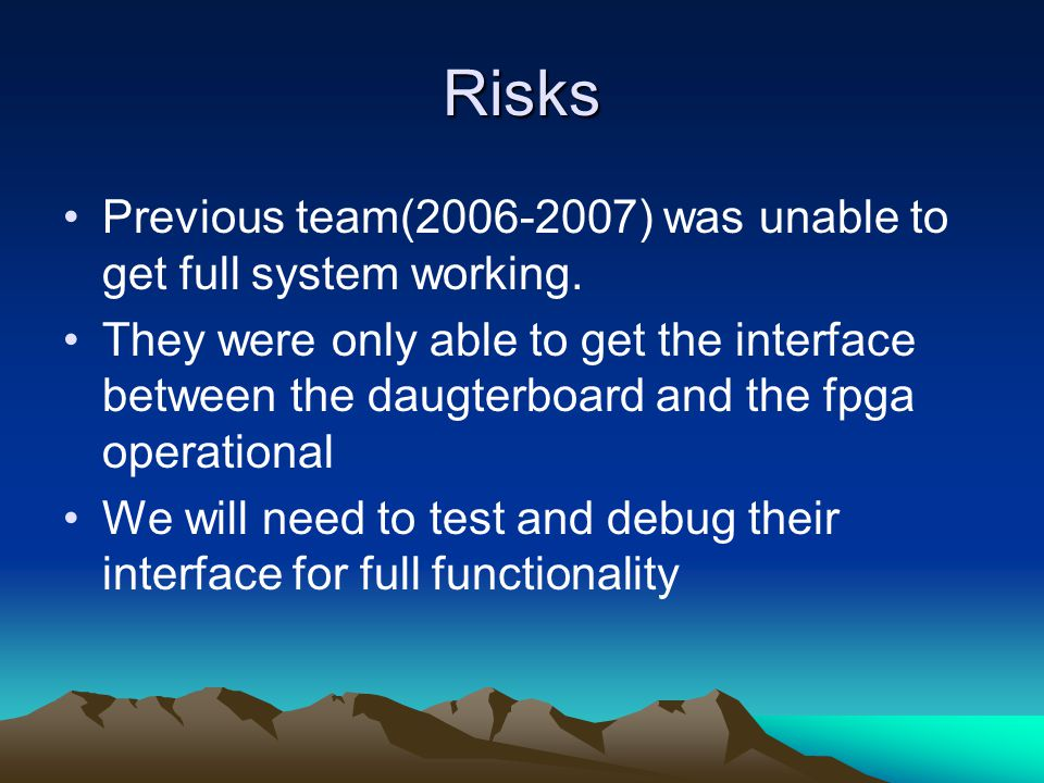 Risks Previous team(2006-2007) was unable to get full system working.