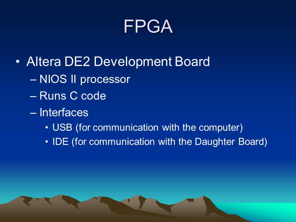 FPGA Altera DE2 Development Board –NIOS II processor –Runs C code –Interfaces USB (for communication with the computer) IDE (for communication with the Daughter Board)