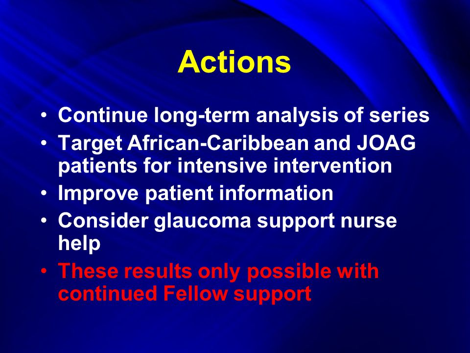 Actions Continue long-term analysis of series Target African-Caribbean and JOAG patients for intensive intervention Improve patient information Consider glaucoma support nurse help These results only possible with continued Fellow support