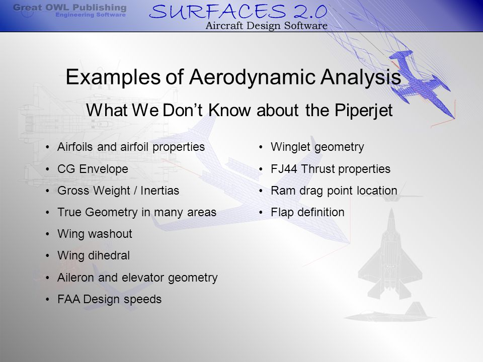 What We Don't Know about the Piperjet Airfoils and airfoil properties CG Envelope Gross Weight / Inertias True Geometry in many areas Wing washout Wing dihedral Aileron and elevator geometry FAA Design speeds Winglet geometry FJ44 Thrust properties Ram drag point location Flap definition