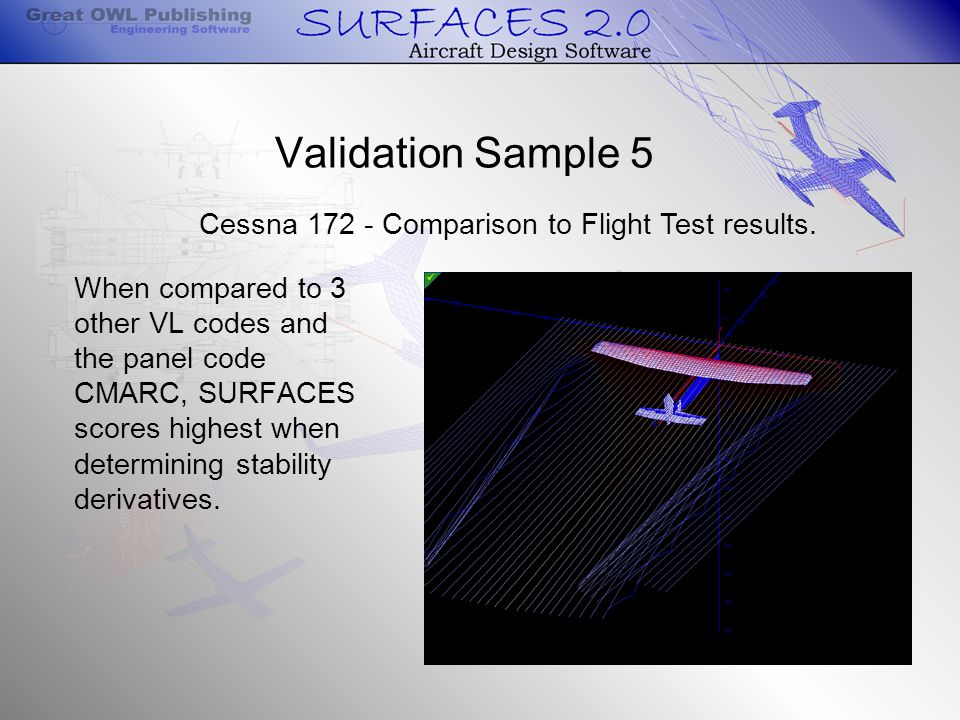 Validation Sample 5 When compared to 3 other VL codes and the panel code CMARC, SURFACES scores highest when determining stability derivatives.