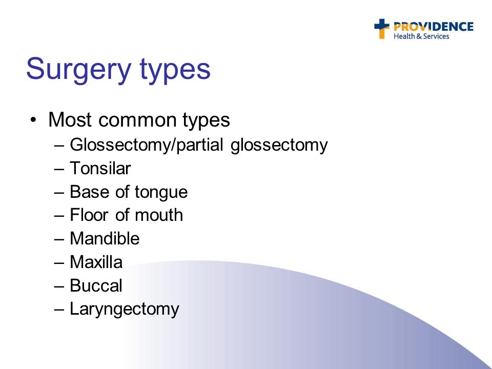 Surgery types Most common types –Glossectomy/partial glossectomy –Tonsilar –Base of tongue –Floor of mouth –Mandible –Maxilla –Buccal –Laryngectomy