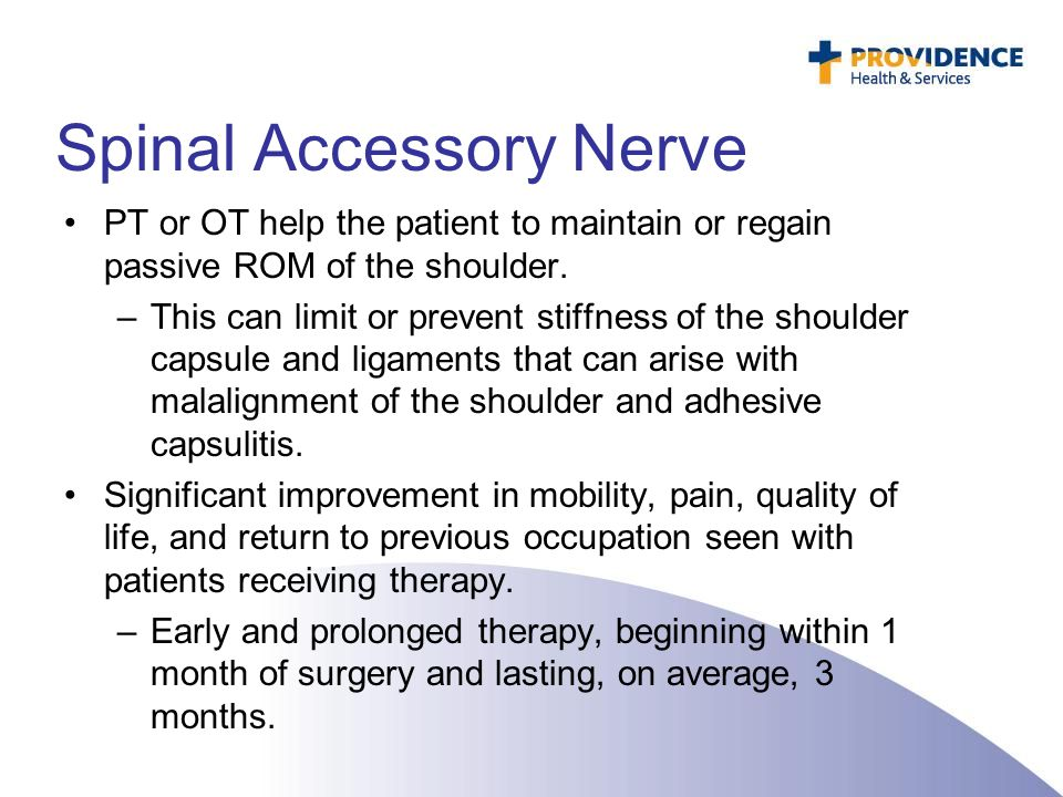 Spinal Accessory Nerve PT or OT help the patient to maintain or regain passive ROM of the shoulder. –This can limit or prevent stiffness of the should