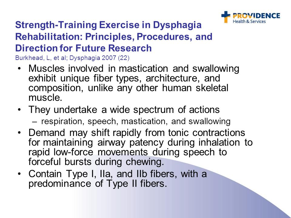 Strength-Training Exercise in Dysphagia Rehabilitation: Principles, Procedures, and Direction for Future Research Burkhead, L, et al; Dysphagia 2007 (