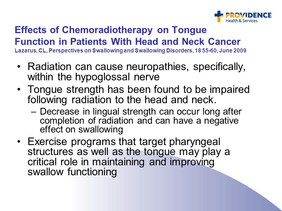 Effects of Chemoradiotherapy on Tongue Function in Patients With Head and Neck Cancer Lazarus, CL, Perspectives on Swallowing and Swallowing Disorders