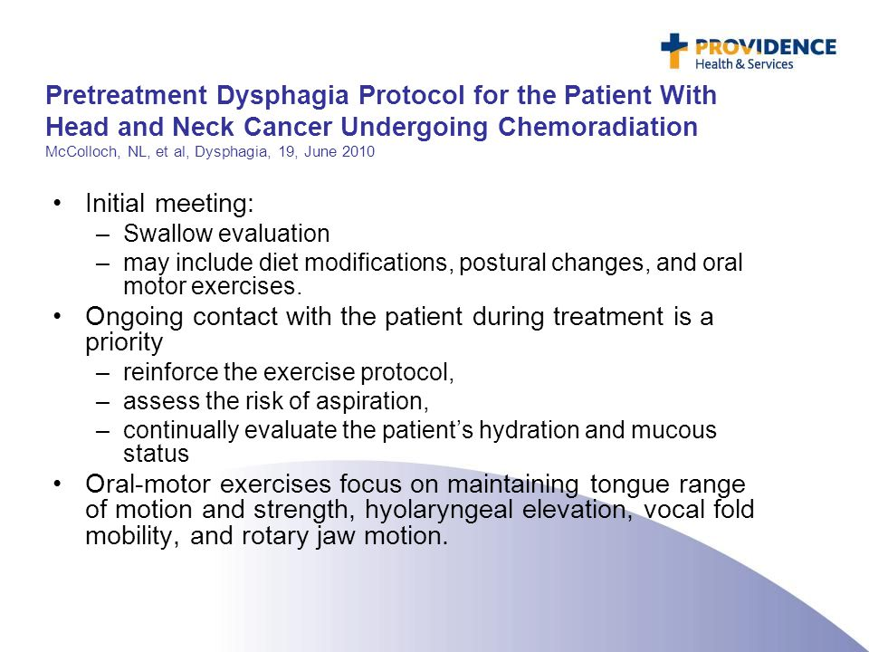 Pretreatment Dysphagia Protocol for the Patient With Head and Neck Cancer Undergoing Chemoradiation McColloch, NL, et al, Dysphagia, 19, June 2010 Ini