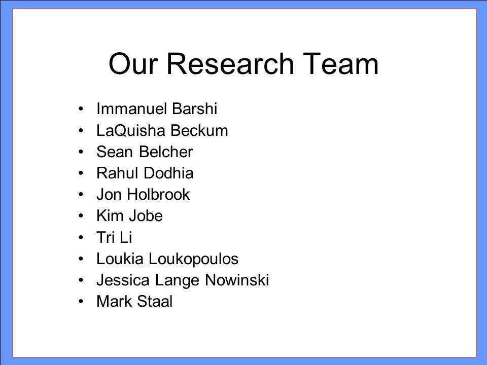 Our Research Team Immanuel Barshi LaQuisha Beckum Sean Belcher Rahul Dodhia Jon Holbrook Kim Jobe Tri Li Loukia Loukopoulos Jessica Lange Nowinski Mar