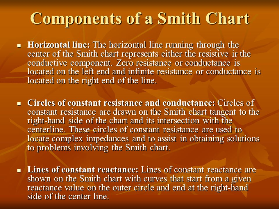 Components of a Smith Chart Horizontal line: The horizontal line running through the center of the Smith chart represents either the resistive ir the