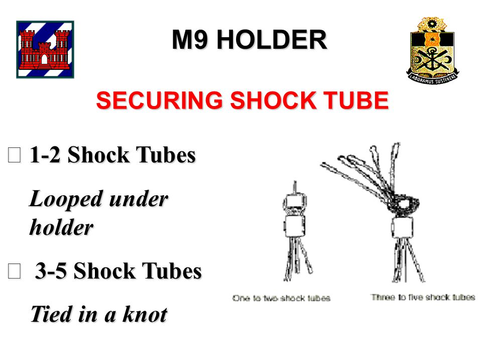 M9 HOLDER 1-2 Shock Tubes Looped under holder Looped under holder  3-5 Shock Tubes Tied in a knot Tied in a knot SECURING SHOCK TUBE