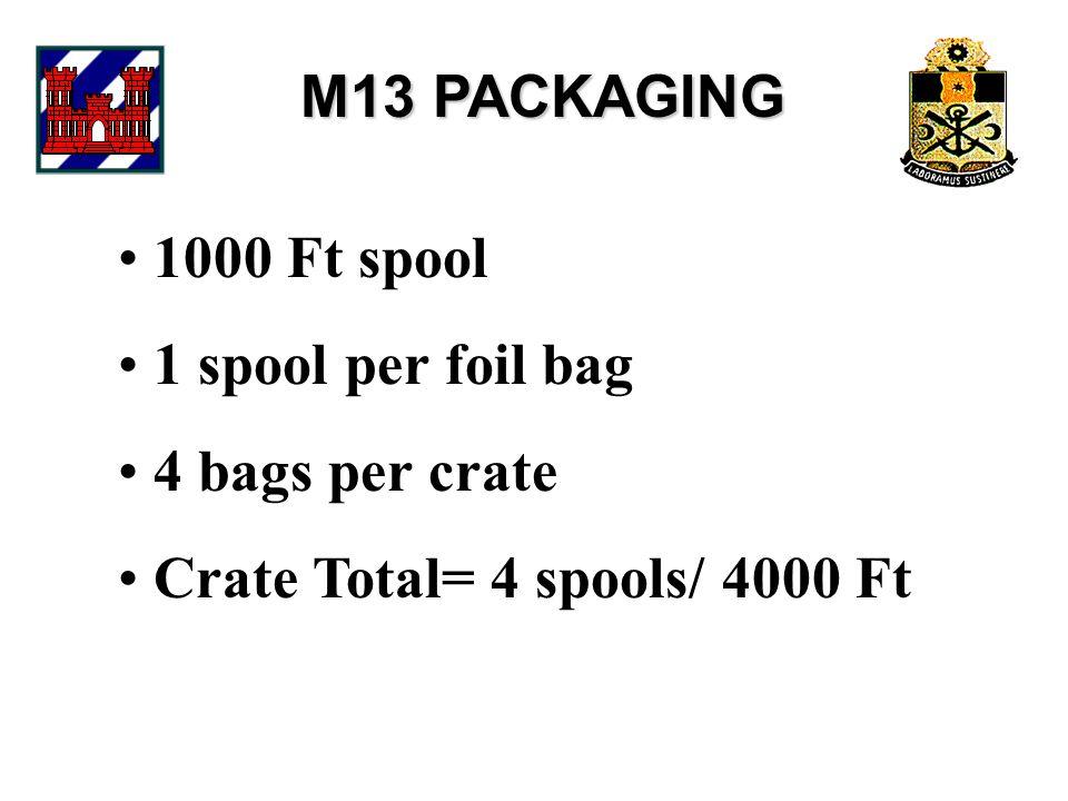 M13 PACKAGING 1000 Ft spool 1 spool per foil bag 4 bags per crate Crate Total= 4 spools/ 4000 Ft