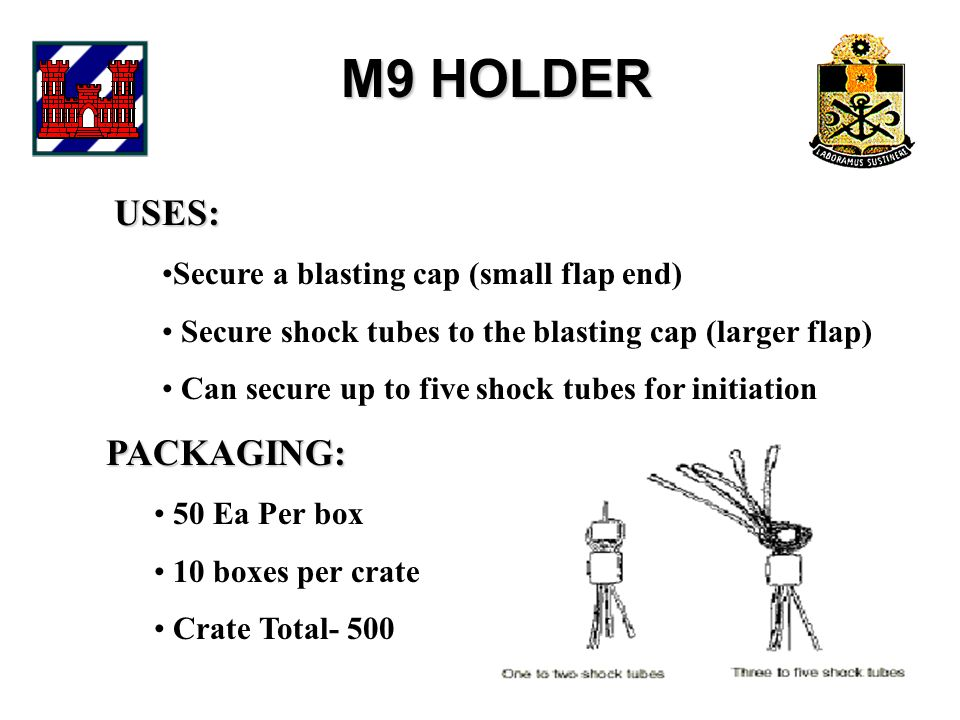 M9 HOLDER USES: Secure a blasting cap (small flap end) Secure shock tubes to the blasting cap (larger flap) Can secure up to five shock tubes for initiation PACKAGING: 50 Ea Per box 10 boxes per crate Crate Total- 500