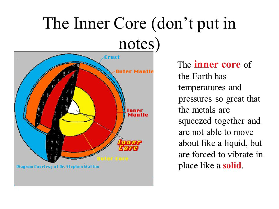 The Inner Core (don't put in notes) The inner core of the Earth has temperatures and pressures so great that the metals are squeezed together and are not able to move about like a liquid, but are forced to vibrate in place like a solid.