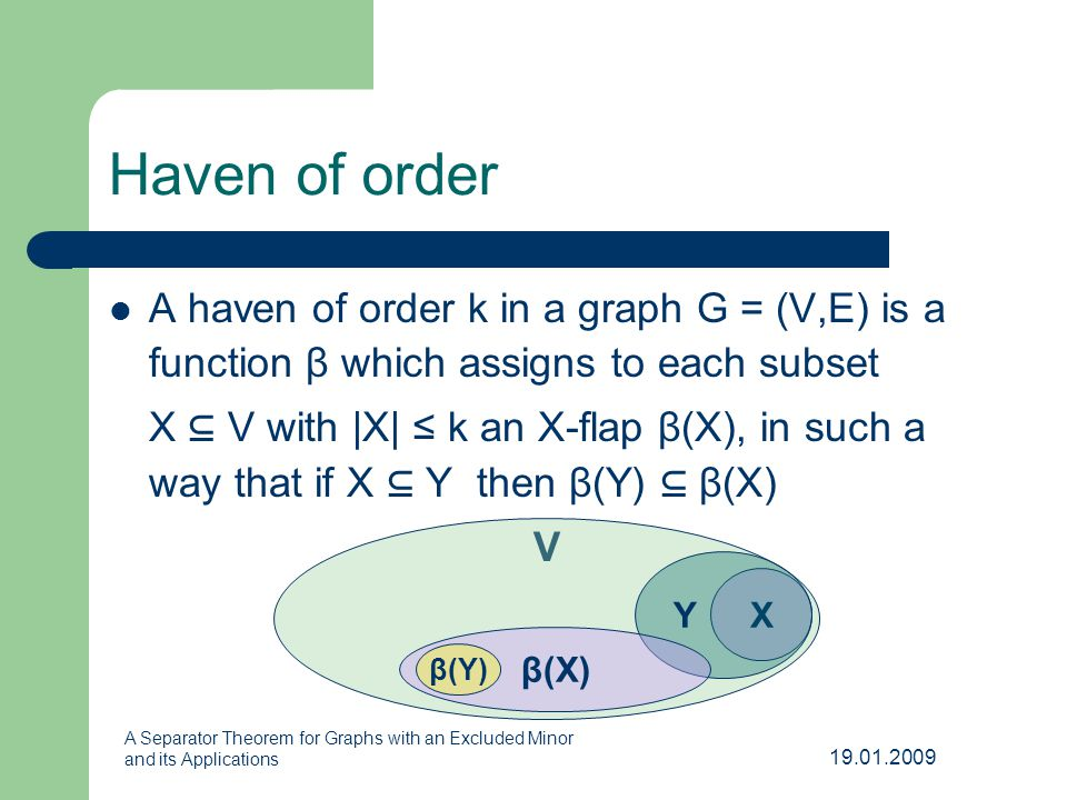 19.01.2009 A Separator Theorem for Graphs with an Excluded Minor and its Applications Haven of order A haven of order k in a graph G = (V,E) is a function β which assigns to each subset X ⊆ V with |X| ≤ k an X-flap β(X), in such a way that if X ⊆ Y then β(Y) ⊆ β(X) V X Y β(X) β(Y)