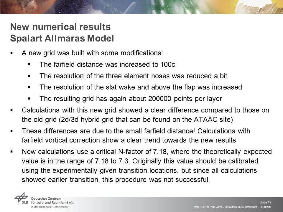 A320 DDES on 2048 cores > Silvia Reuß, Dieter Schamborn > 30.04.2010 Slide 19 New numerical results Spalart Allmaras Model  A new grid was built with