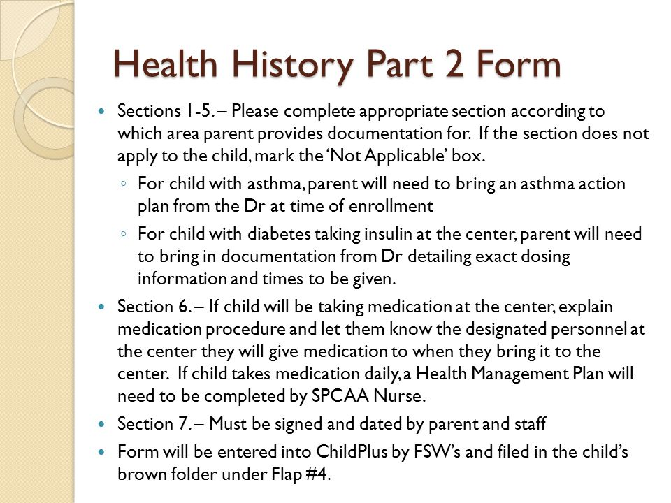Health History Part 2 Form Sections 1-5.