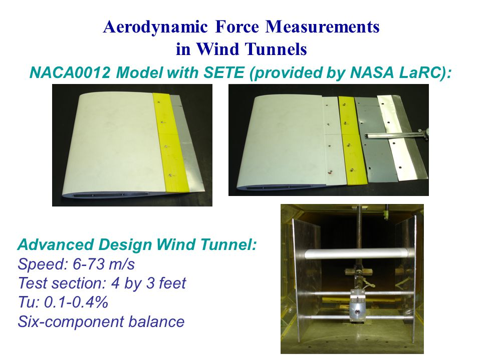 Aerodynamic Force Measurements in Wind Tunnels NACA0012 Model with SETE (provided by NASA LaRC): Advanced Design Wind Tunnel: Speed: 6-73 m/s Test section: 4 by 3 feet Tu: 0.1-0.4% Six-component balance