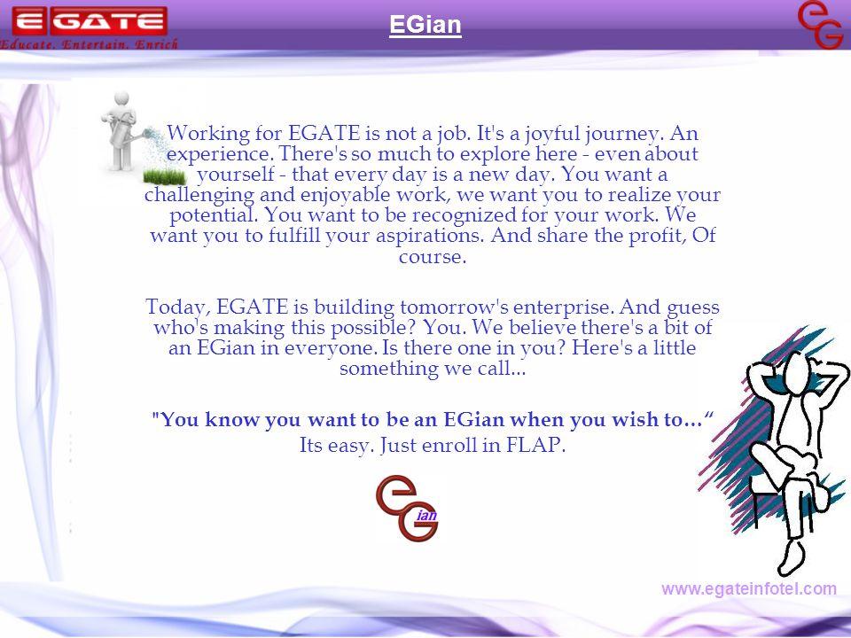 Working for EGATE is not a job. It s a joyful journey.