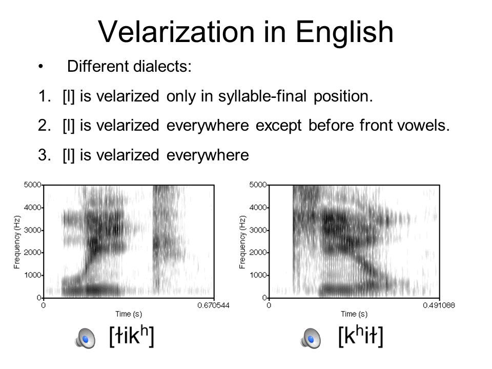 Dark vs. Clear /l/ [alala] /l/ often has low F2 in English because it is velarized.