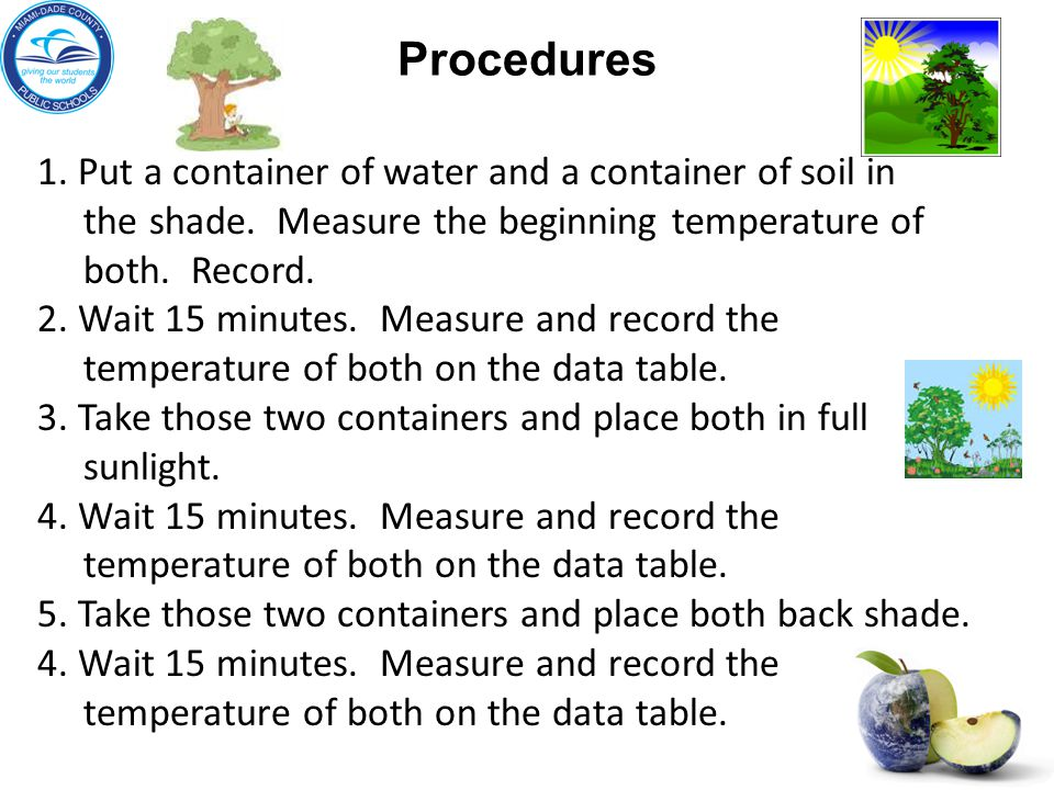 Procedures 1.Put a container of water and a container of soil in the shade.