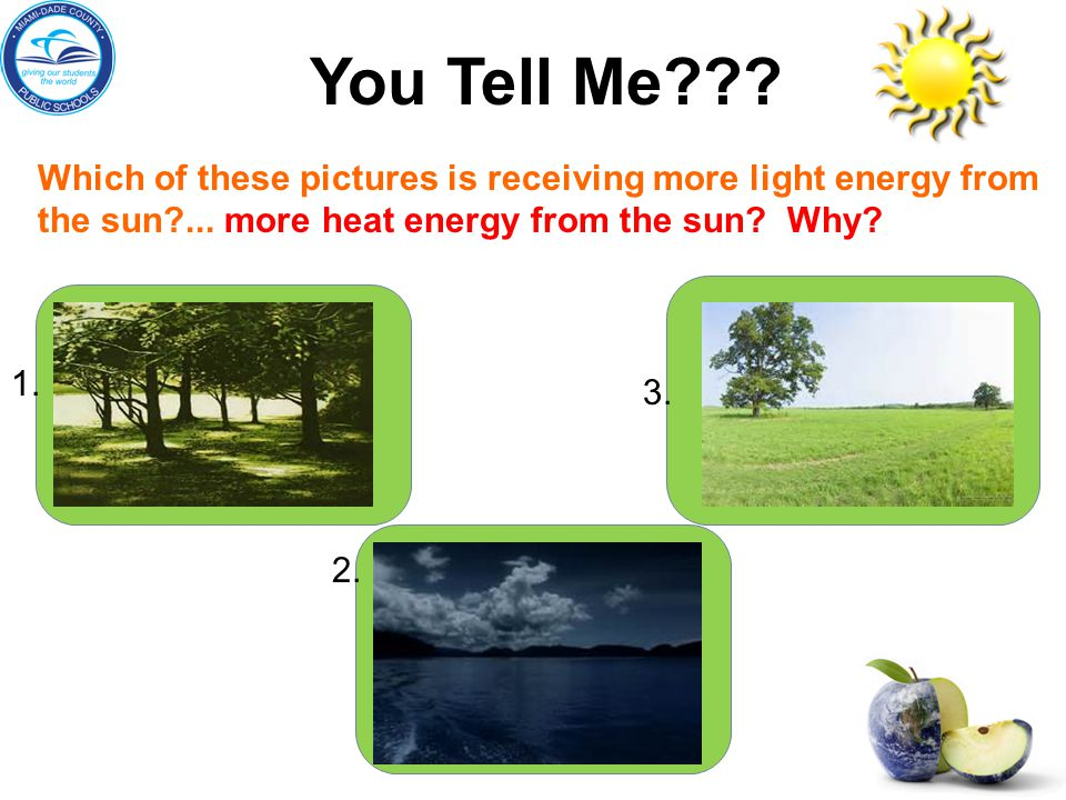 You Tell Me??.Which of these pictures is receiving more light energy from the sun?...