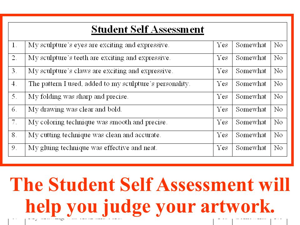 Self Assessment Sheet Here are some questions to help the grownups at home talk to you about your Wild Thing.