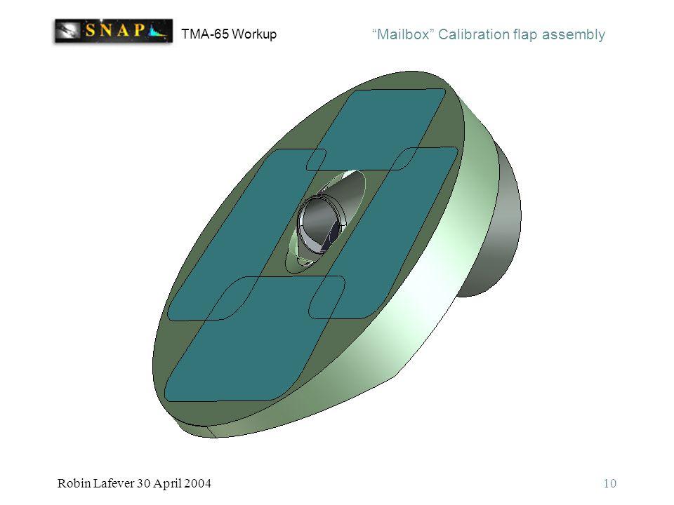 TMA-65 Workup Robin Lafever 30 April 200410 Mailbox Calibration flap assembly