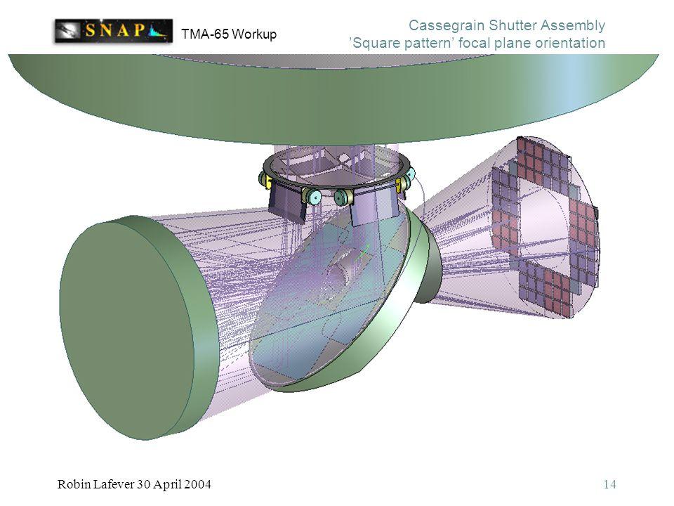 TMA-65 Workup Robin Lafever 30 April 200414 Cassegrain Shutter Assembly 'Square pattern' focal plane orientation