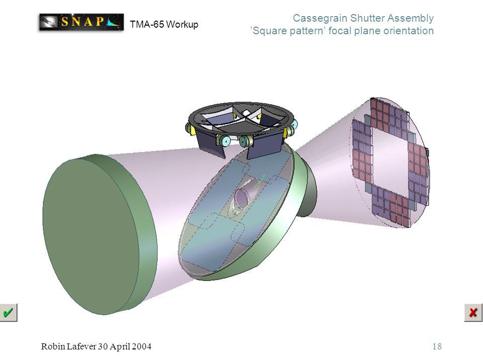 TMA-65 Workup Robin Lafever 30 April 200418 Cassegrain Shutter Assembly 'Square pattern' focal plane orientation